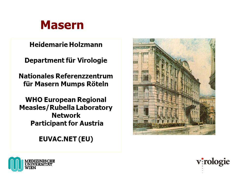Masern Heidemarie Holzmann Department für Virologie Nationales Referenzzentrum für Masern Mumps Röteln WHO European Regional Measles/Rubella Laboratory Network Participant for Austria EUVAC.NET (EU)