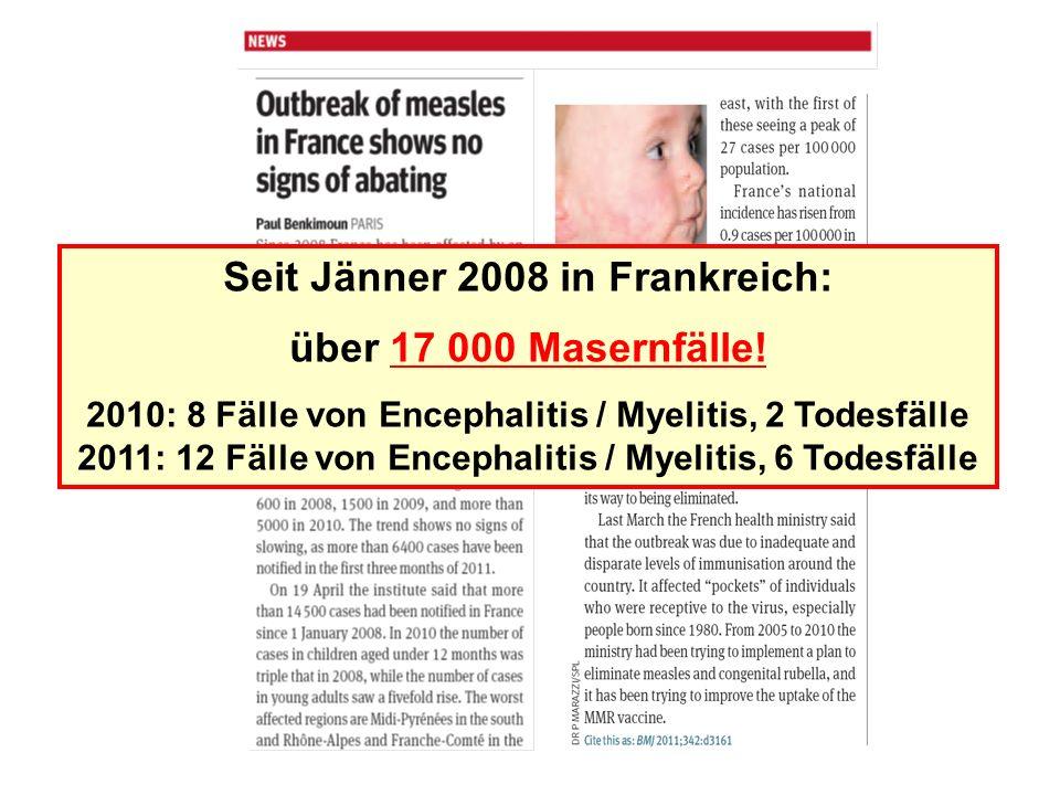 Seit Jänner 2008 in Frankreich: über 17 000 Masernfälle.