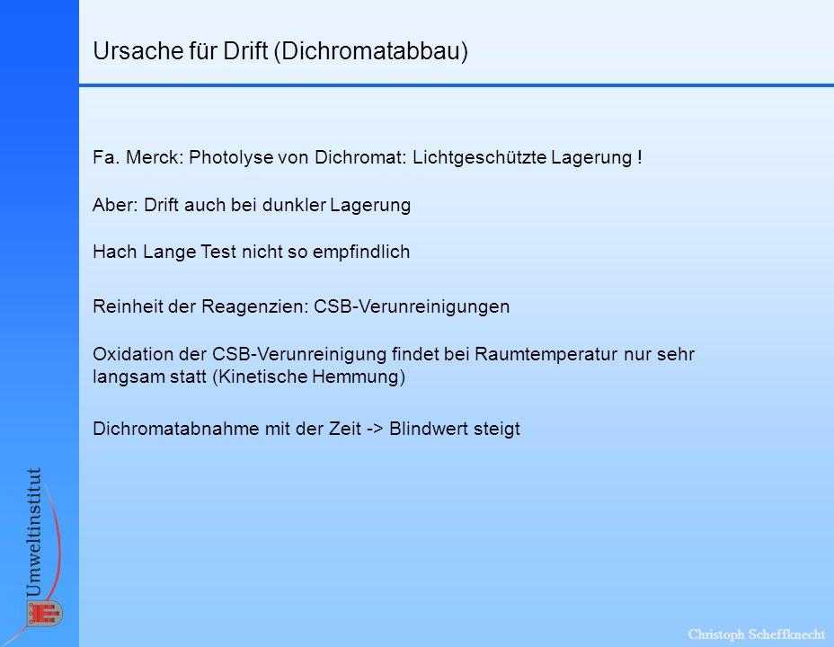 Christoph Scheffknecht Ursache für Drift (Dichromatabbau) Fa. Merck: Photolyse von Dichromat: Lichtgeschützte Lagerung ! Aber: Drift auch bei dunkler