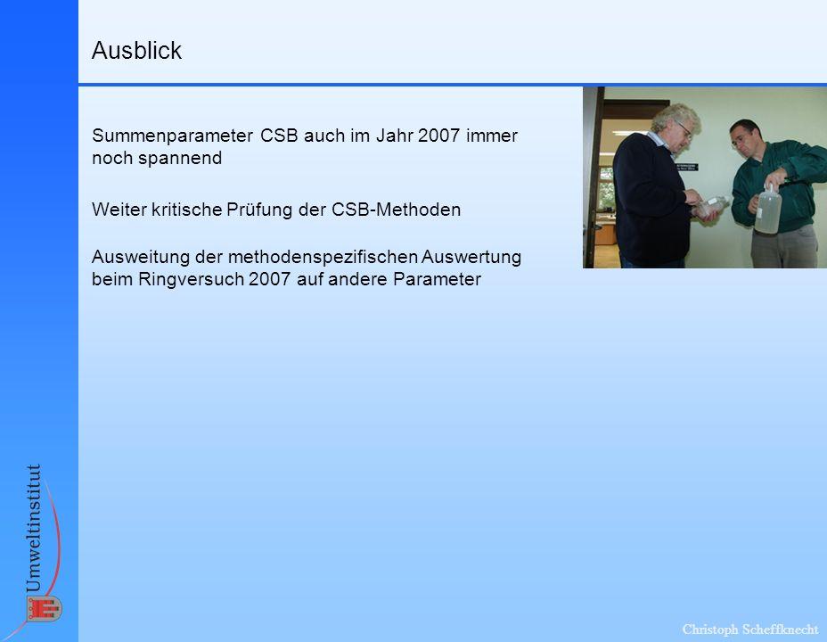 Christoph Scheffknecht Ausblick Weiter kritische Prüfung der CSB-Methoden Ausweitung der methodenspezifischen Auswertung beim Ringversuch 2007 auf andere Parameter Summenparameter CSB auch im Jahr 2007 immer noch spannend