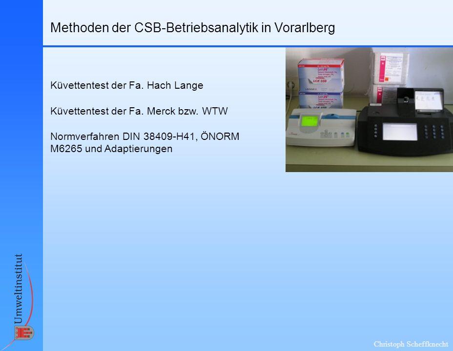 Christoph Scheffknecht Methoden der CSB-Betriebsanalytik in Vorarlberg Küvettentest der Fa. Hach Lange Küvettentest der Fa. Merck bzw. WTW Normverfahr