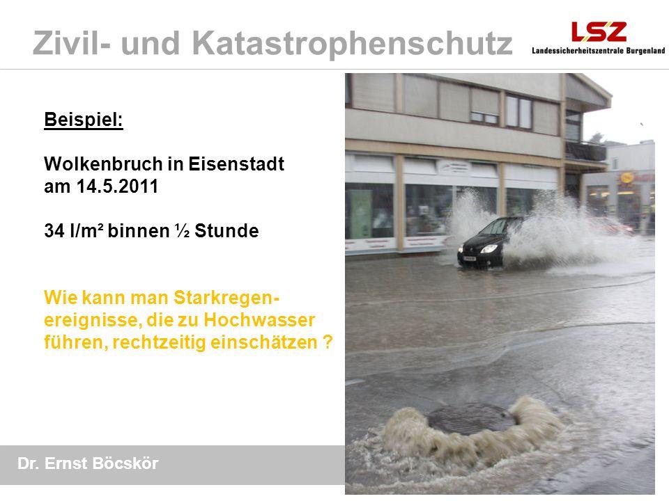 Dr. Ernst Böcskör 13 Mai 2011 Zivil- und Katastrophenschutz Beispiel: Wolkenbruch in Eisenstadt am 14.5.2011 34 l/m² binnen ½ Stunde Wie kann man Star