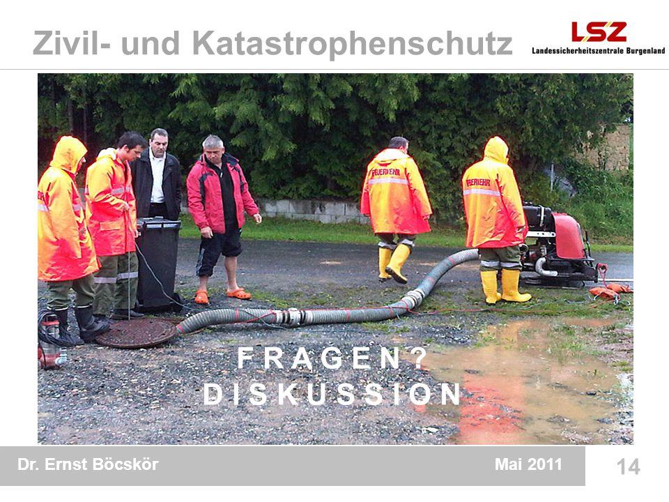 Dr. Ernst Böcskör 14 Mai 2011 Zivil- und Katastrophenschutz F R A G E N D I S K U S S I O N