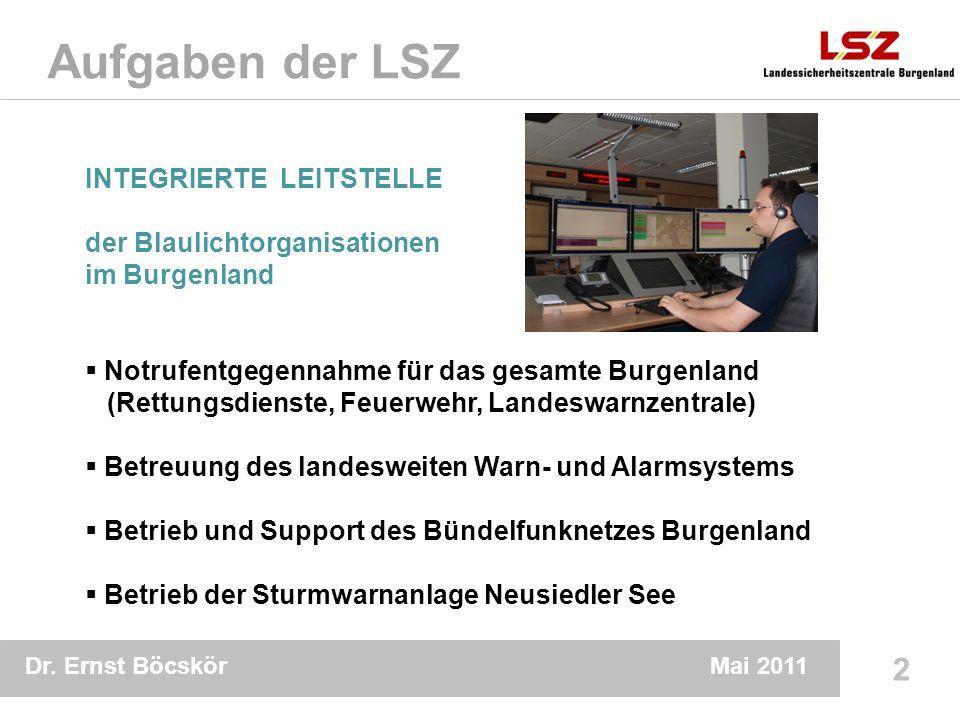 Dr. Ernst Böcskör 2 Mai 2011 Aufgaben der LSZ INTEGRIERTE LEITSTELLE der Blaulichtorganisationen im Burgenland Notrufentgegennahme für das gesamte Bur