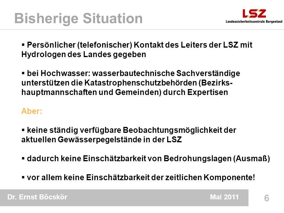 Dr. Ernst Böcskör 6 Mai 2011 Bisherige Situation Persönlicher (telefonischer) Kontakt des Leiters der LSZ mit Hydrologen des Landes gegeben bei Hochwa