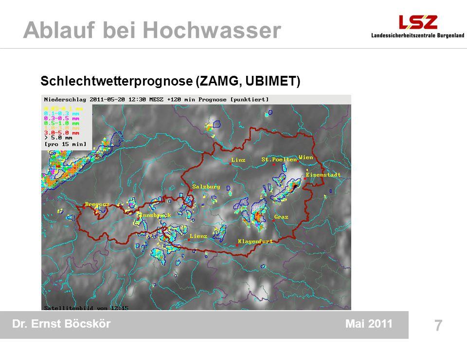 Dr. Ernst Böcskör 7 Mai 2011 Ablauf bei Hochwasser Schlechtwetterprognose (ZAMG, UBIMET)