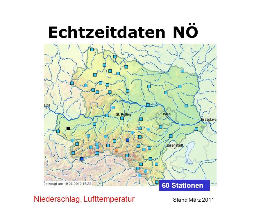 Echtzeitdaten NÖ Niederschlag, Lufttemperatur Stand März 2011 60 Stationen