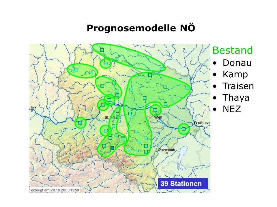 Bestand Donau Kamp Traisen Thaya NEZ Prognosemodelle NÖ 39 Stationen