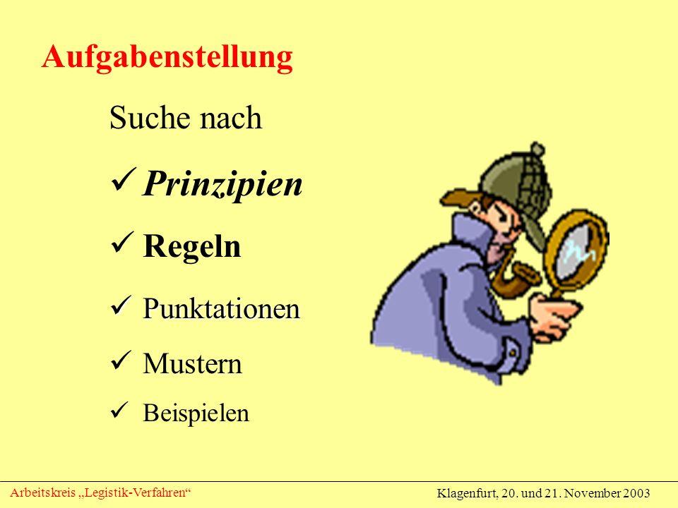 Klagenfurt, 20. und 21. November 2003 Arbeitskreis Legistik-Verfahren