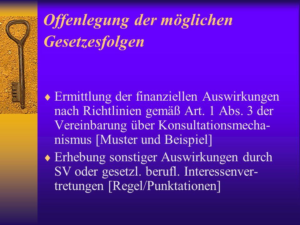 Offenlegung der möglichen Gesetzesfolgen Ermittlung der finanziellen Auswirkungen nach Richtlinien gemäß Art.