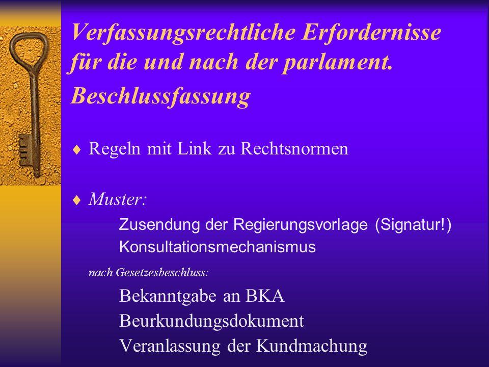 Verfassungsrechtliche Erfordernisse für die und nach der parlament.