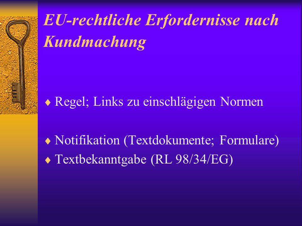 EU-rechtliche Erfordernisse nach Kundmachung Regel; Links zu einschlägigen Normen Notifikation (Textdokumente; Formulare) Textbekanntgabe (RL 98/34/EG)