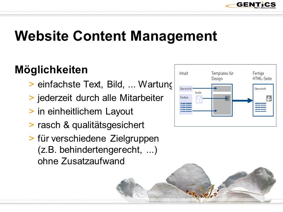 Website Content Management Möglichkeiten >einfachste Text, Bild,...