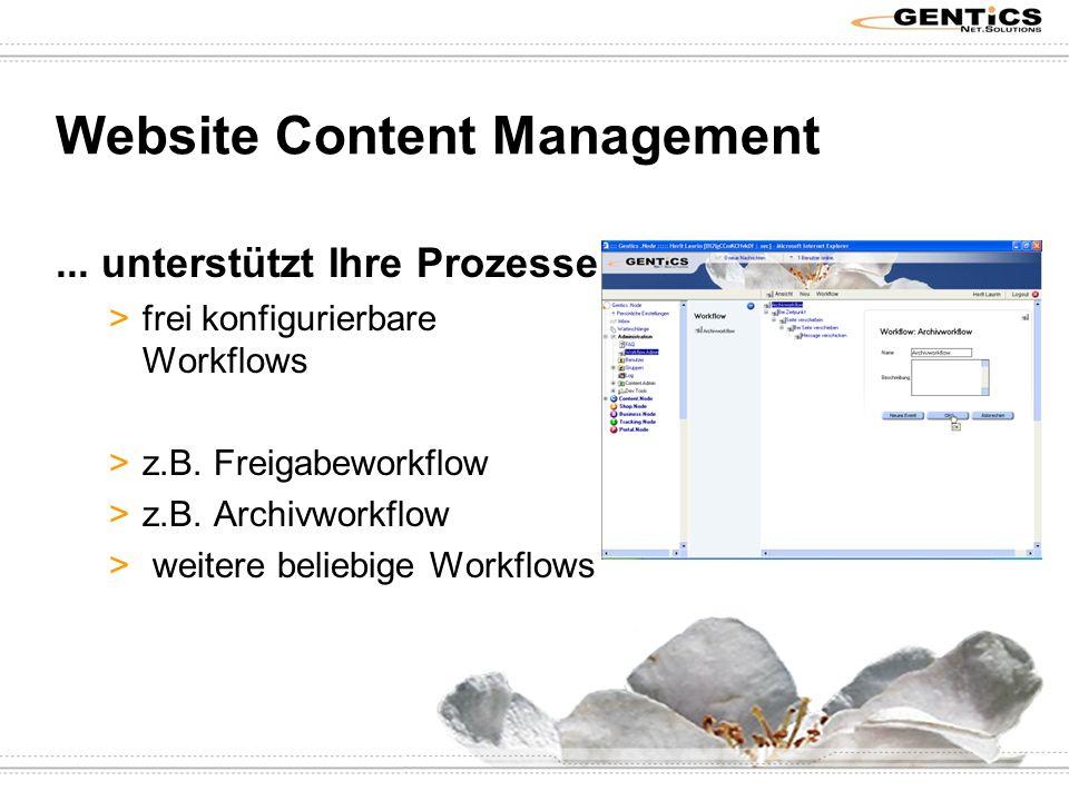 Website Content Management... unterstützt Ihre Prozesse >frei konfigurierbare Workflows >z.B.