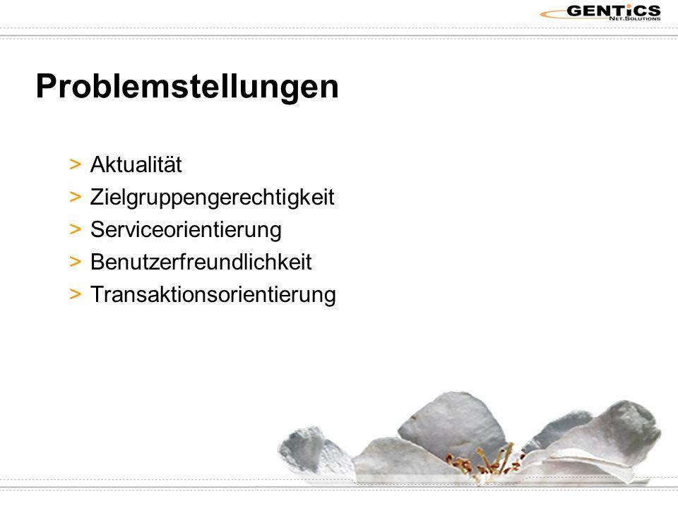 Problemstellungen >Aktualität >Zielgruppengerechtigkeit >Serviceorientierung >Benutzerfreundlichkeit >Transaktionsorientierung