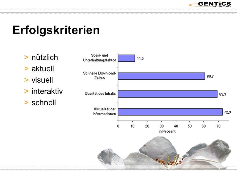 Erfolgskriterien >nützlich >aktuell >visuell >interaktiv >schnell