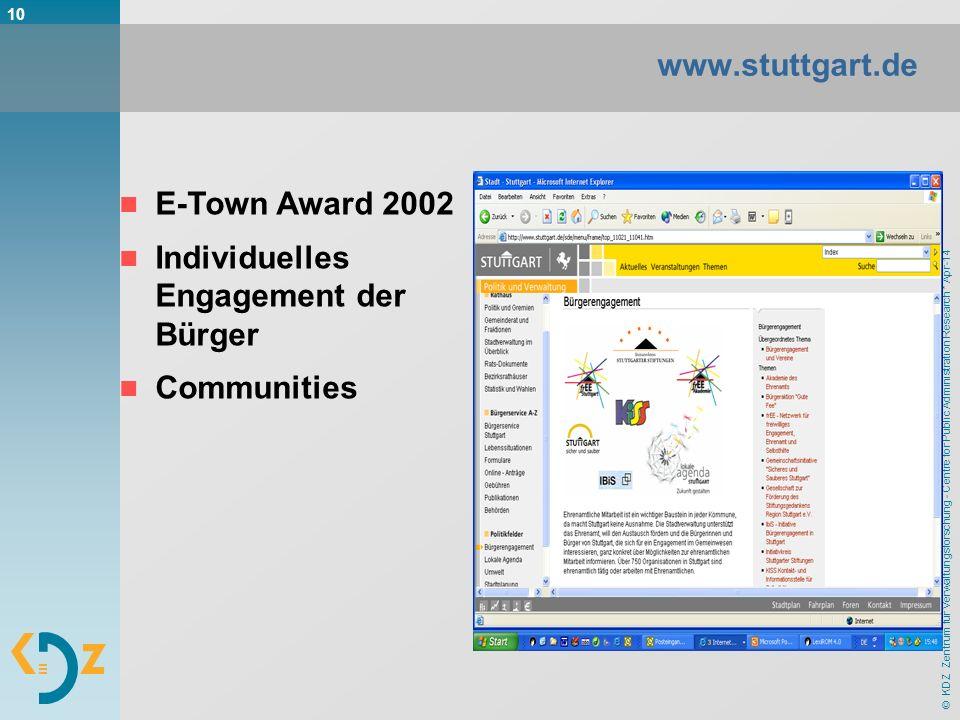 © KDZ Zentrum für Verwaltungsforschung - Centre for Public Administration Research * Apr-14 10 www.stuttgart.de E-Town Award 2002 Individuelles Engage