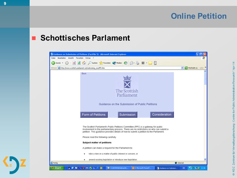 © KDZ Zentrum für Verwaltungsforschung - Centre for Public Administration Research * Apr-14 9 Online Petition Schottisches Parlament