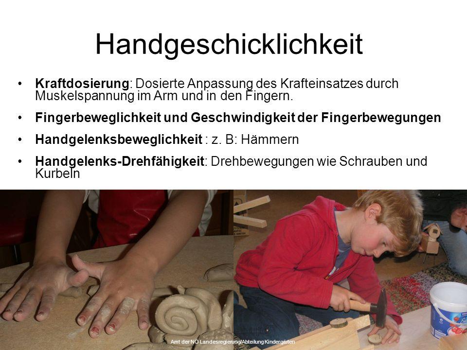 Handgeschicklichkeit Kraftdosierung: Dosierte Anpassung des Krafteinsatzes durch Muskelspannung im Arm und in den Fingern. Fingerbeweglichkeit und Ges