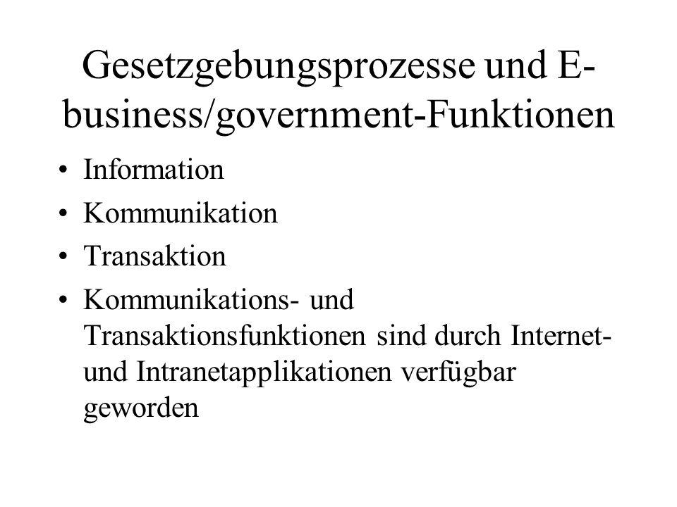 Gesetzgebungsprozesse und E- business/government-Funktionen Information Kommunikation Transaktion Kommunikations- und Transaktionsfunktionen sind durch Internet- und Intranetapplikationen verfügbar geworden