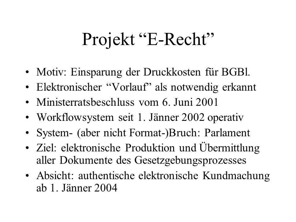 Projekt E-Recht Motiv: Einsparung der Druckkosten für BGBl.