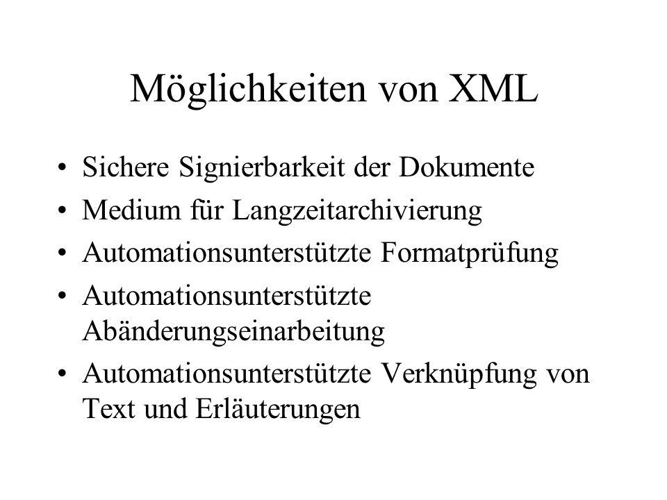 Möglichkeiten von XML Sichere Signierbarkeit der Dokumente Medium für Langzeitarchivierung Automationsunterstützte Formatprüfung Automationsunterstützte Abänderungseinarbeitung Automationsunterstützte Verknüpfung von Text und Erläuterungen
