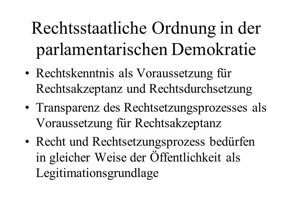 Rechtsstaatliche Ordnung in der parlamentarischen Demokratie Rechtskenntnis als Voraussetzung für Rechtsakzeptanz und Rechtsdurchsetzung Transparenz des Rechtsetzungsprozesses als Voraussetzung für Rechtsakzeptanz Recht und Rechtsetzungsprozess bedürfen in gleicher Weise der Öffentlichkeit als Legitimationsgrundlage