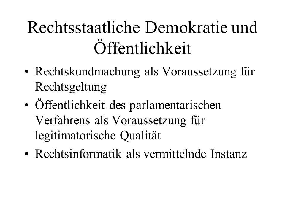 Rechtsstaatliche Demokratie und Öffentlichkeit Rechtskundmachung als Voraussetzung für Rechtsgeltung Öffentlichkeit des parlamentarischen Verfahrens als Voraussetzung für legitimatorische Qualität Rechtsinformatik als vermittelnde Instanz