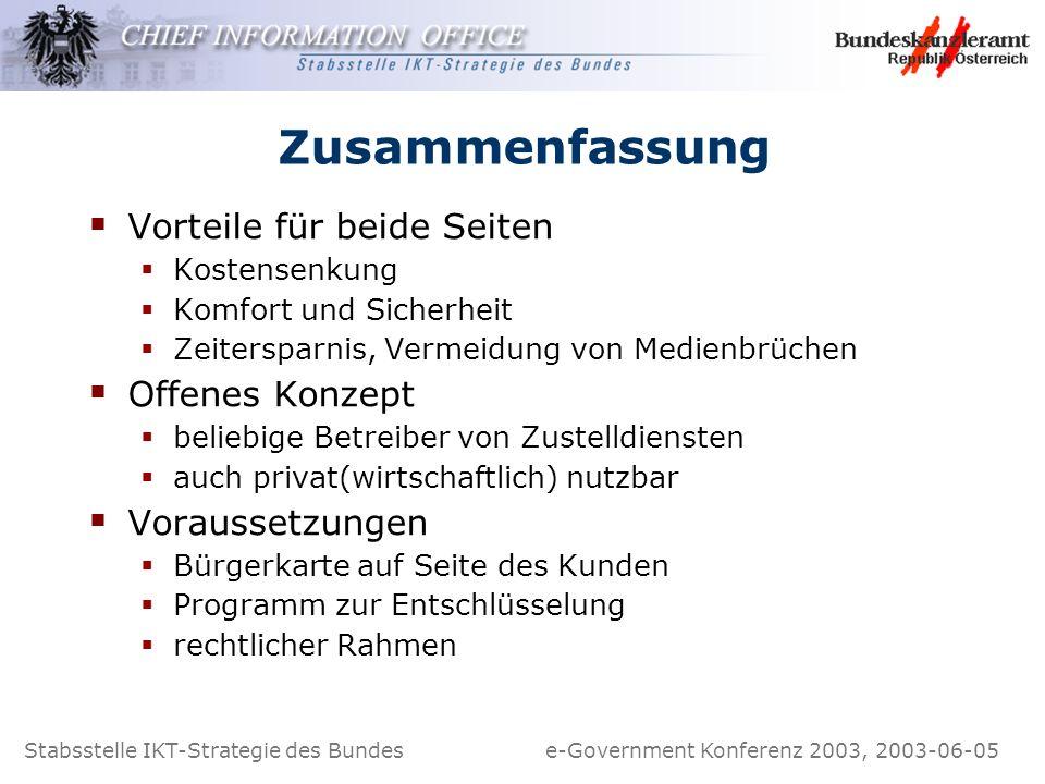 Stabsstelle IKT-Strategie des Bundes e-Government Konferenz 2003, 2003-06-05 Zusammenfassung Vorteile für beide Seiten Kostensenkung Komfort und Siche