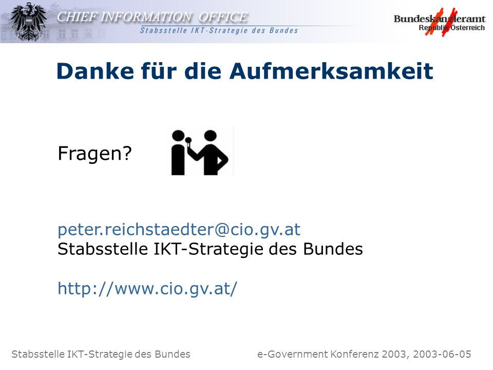 Stabsstelle IKT-Strategie des Bundes e-Government Konferenz 2003, 2003-06-05 Danke für die Aufmerksamkeit Fragen? peter.reichstaedter@cio.gv.at Stabss