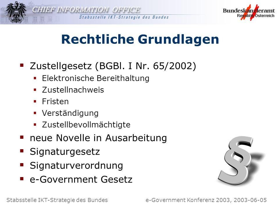 Stabsstelle IKT-Strategie des Bundes e-Government Konferenz 2003, 2003-06-05 Rechtliche Grundlagen Zustellgesetz (BGBl. I Nr. 65/2002) Elektronische B