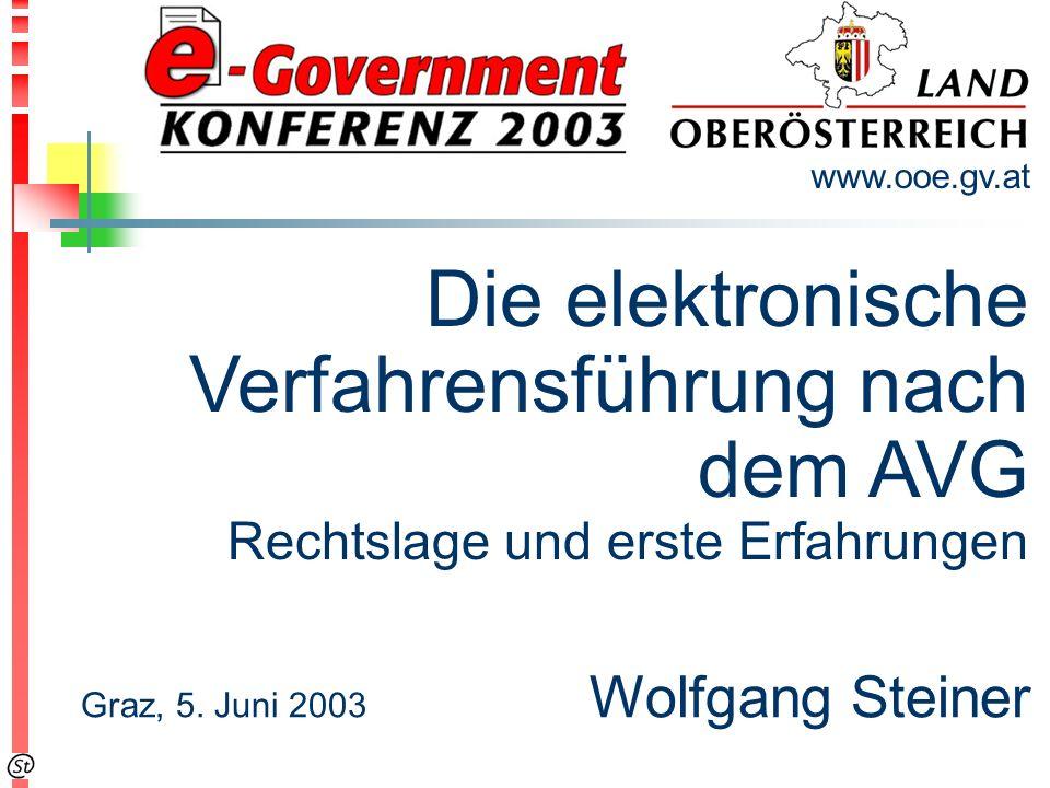 Die elektronische Verfahrensführung nach dem AVG Rechtslage und erste Erfahrungen www.ooe.gv.at Graz, 5.
