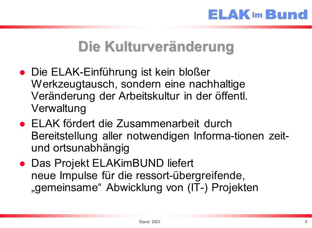 Stand: 20037 ELAK - Grundprinzipien ELAK = Original Elektronisches Abzeichnen und Genehmigen Scannen nur falls wirtschaftlich und zweckmäßig (ansonsten Verweis) Papierakt bei Bedarf möglich Kanzleiordnung 1992