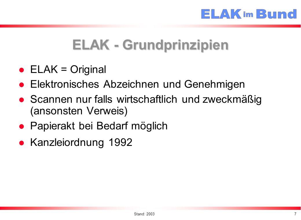 Stand: 20038 ELAK - Nutzen Verkürzung der Laufwege (Sternförmige Abläufe werden durch direkte Weiterleitung ersetzt) – Nachweis im BKA ca.