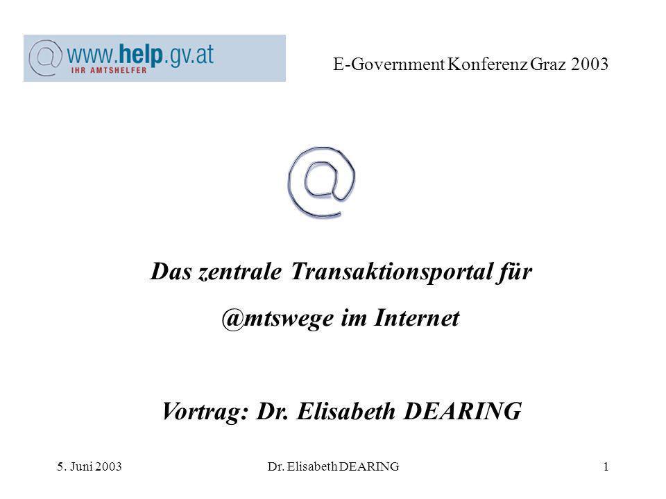 5. Juni 2003Dr. Elisabeth DEARING2 E-Government Konferenz Graz 2003