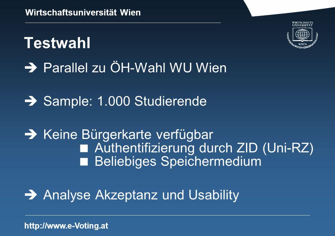 Wirtschaftsuniversität Wien http://www.e-Voting.at Testwahl Parallel zu ÖH-Wahl WU Wien Sample: 1.000 Studierende Keine Bürgerkarte verfügbar Authentifizierung durch ZID (Uni-RZ) Beliebiges Speichermedium Analyse Akzeptanz und Usability