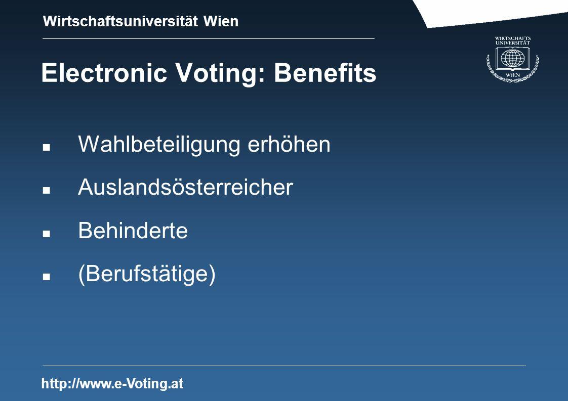 Wirtschaftsuniversität Wien http://www.e-Voting.at Electronic Voting: Benefits n Wahlbeteiligung erhöhen n Auslandsösterreicher n Behinderte n (Berufstätige)