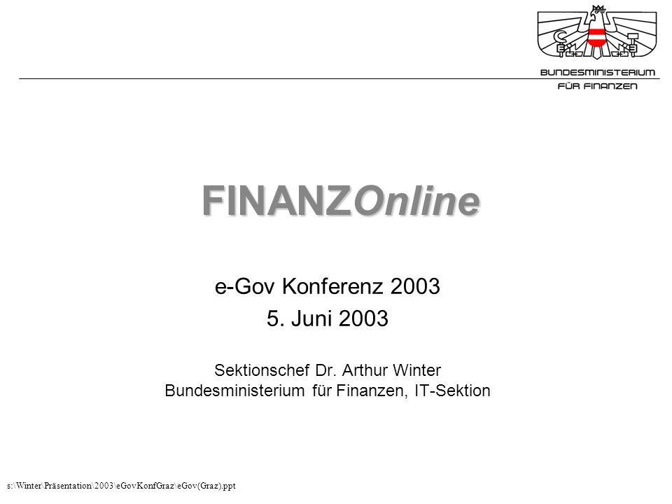 FINANZOnline e-Gov Konferenz 2003 5. Juni 2003 Sektionschef Dr. Arthur Winter Bundesministerium für Finanzen, IT-Sektion s:\Winter\Präsentation\2003\e