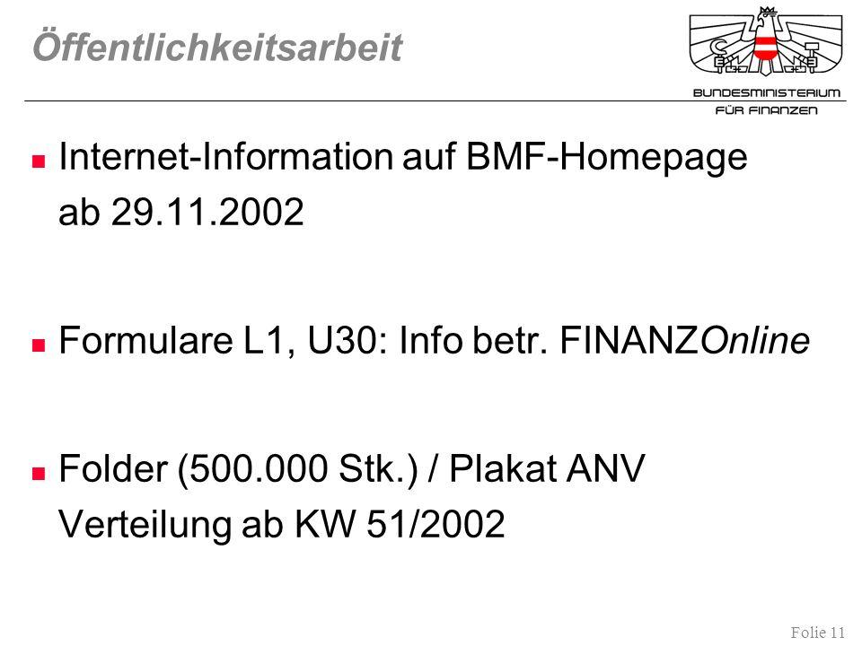 Folie 11 Öffentlichkeitsarbeit Internet-Information auf BMF-Homepage ab 29.11.2002 Formulare L1, U30: Info betr. FINANZOnline Folder (500.000 Stk.) /