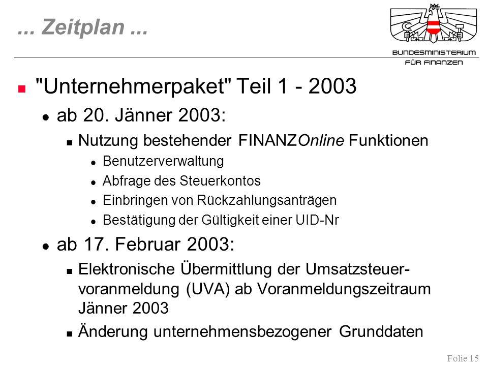 Folie 15...Zeitplan... Unternehmerpaket Teil 1 - 2003 ab 20.