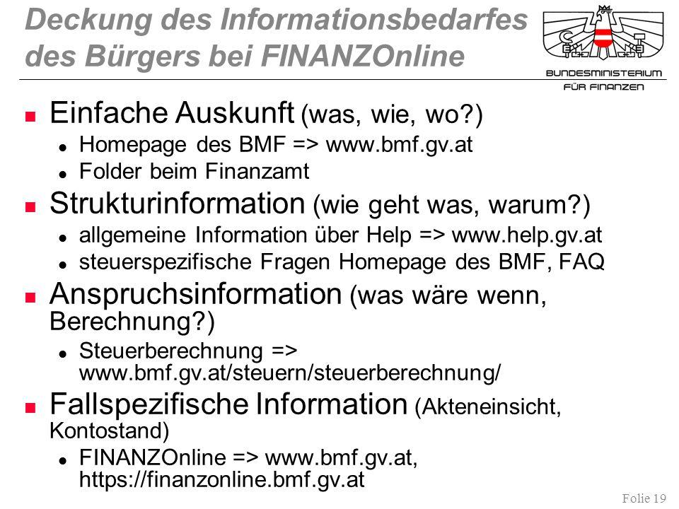 Folie 19 Deckung des Informationsbedarfes des Bürgers bei FINANZOnline Einfache Auskunft (was, wie, wo?) Homepage des BMF => www.bmf.gv.at Folder beim Finanzamt Strukturinformation (wie geht was, warum?) allgemeine Information über Help => www.help.gv.at steuerspezifische Fragen Homepage des BMF, FAQ Anspruchsinformation (was wäre wenn, Berechnung?) Steuerberechnung => www.bmf.gv.at/steuern/steuerberechnung/ Fallspezifische Information (Akteneinsicht, Kontostand) FINANZOnline => www.bmf.gv.at, https://finanzonline.bmf.gv.at