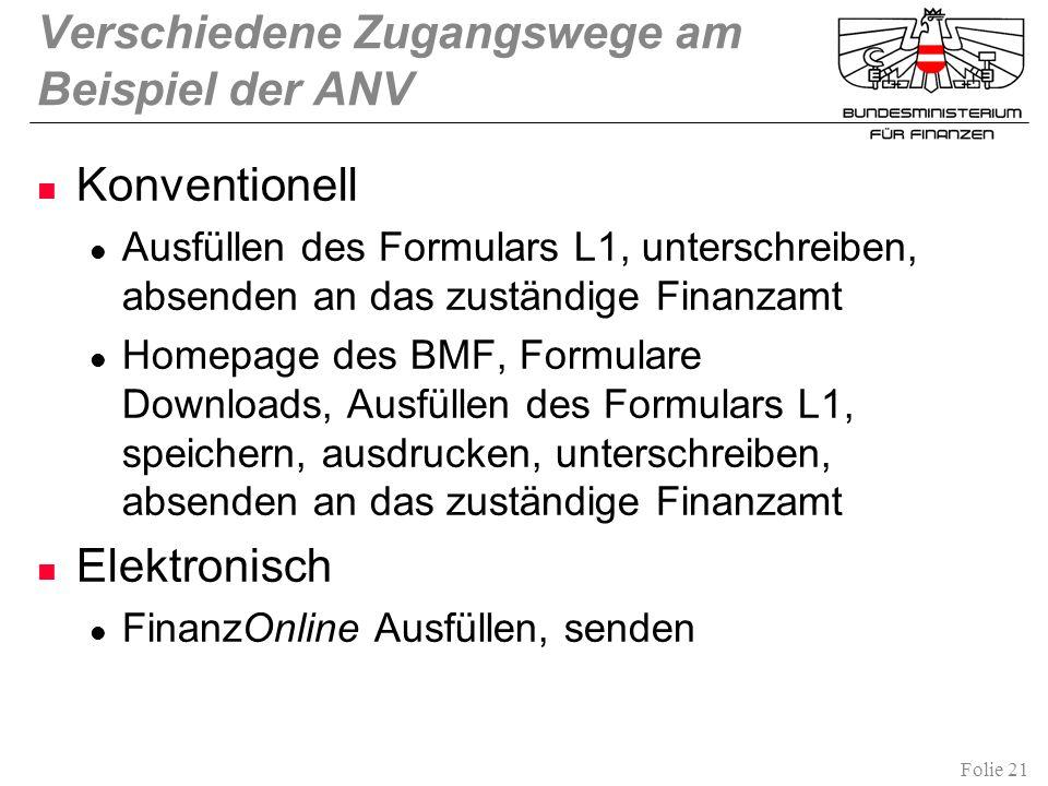 Folie 21 Verschiedene Zugangswege am Beispiel der ANV Konventionell Ausfüllen des Formulars L1, unterschreiben, absenden an das zuständige Finanzamt H