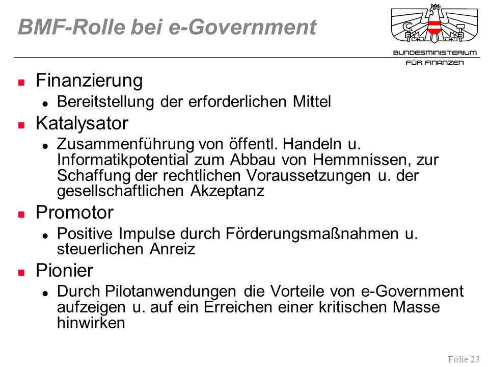 Folie 23 BMF-Rolle bei e-Government Finanzierung Bereitstellung der erforderlichen Mittel Katalysator Zusammenführung von öffentl. Handeln u. Informat