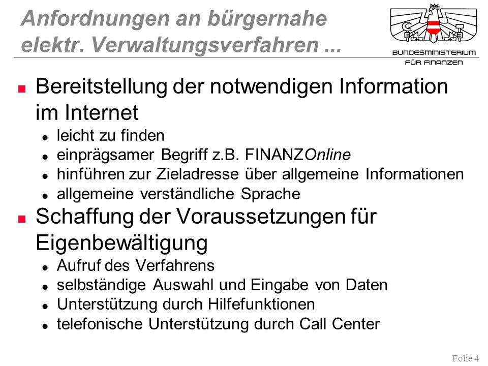 Folie 4 Anfordnungen an bürgernahe elektr. Verwaltungsverfahren... Bereitstellung der notwendigen Information im Internet leicht zu finden einprägsame