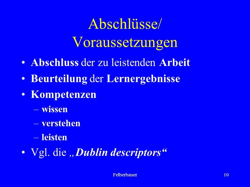 Felberbauer10 Abschlüsse/ Voraussetzungen Abschluss der zu leistenden Arbeit Beurteilung der Lernergebnisse Kompetenzen –wissen –verstehen –leisten Vgl.