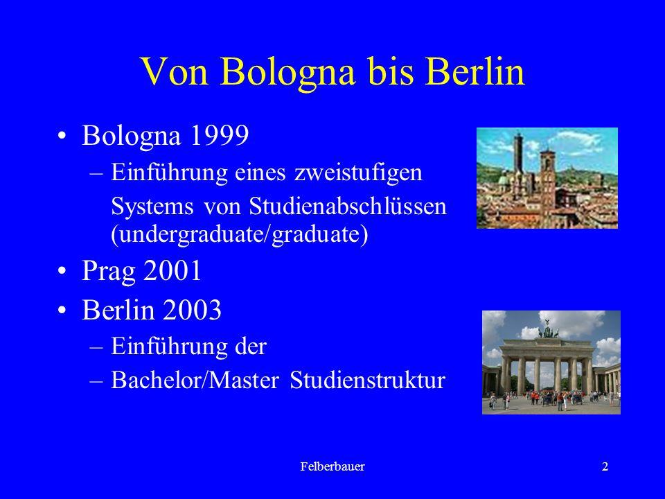 Felberbauer2 Von Bologna bis Berlin Bologna 1999 –Einführung eines zweistufigen Systems von Studienabschlüssen (undergraduate/graduate) Prag 2001 Berlin 2003 –Einführung der –Bachelor/Master Studienstruktur