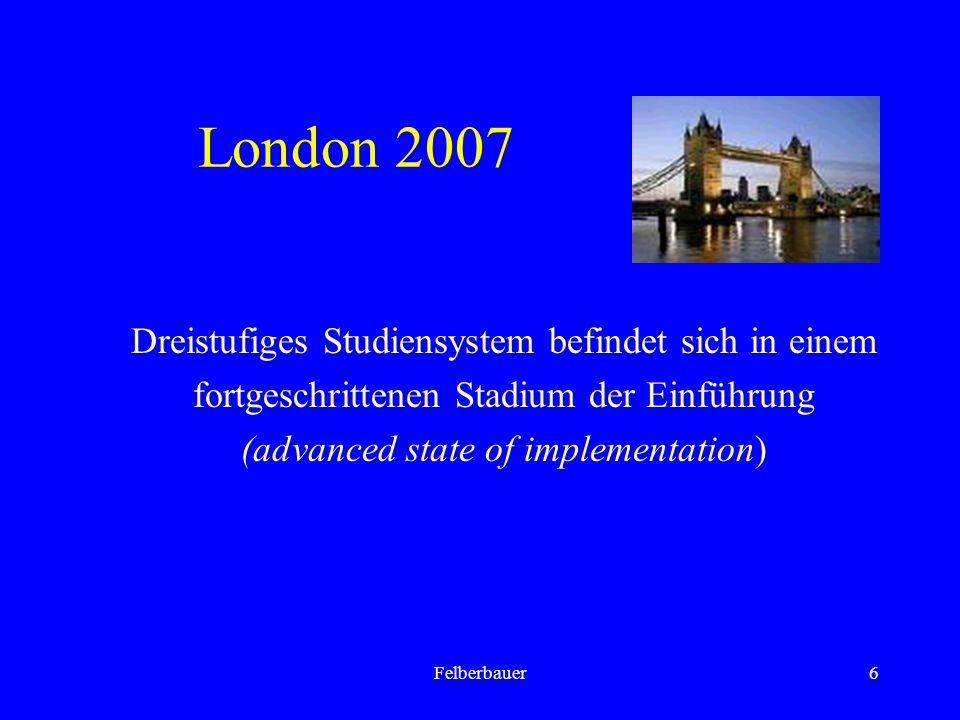 6 London 2007 Dreistufiges Studiensystem befindet sich in einem fortgeschrittenen Stadium der Einführung (advanced state of implementation)