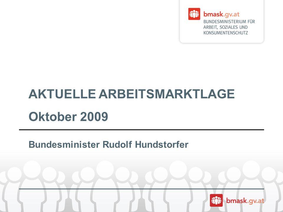 AKTUELLE ARBEITSMARKTLAGE Oktober 2009 Bundesminister Rudolf Hundstorfer