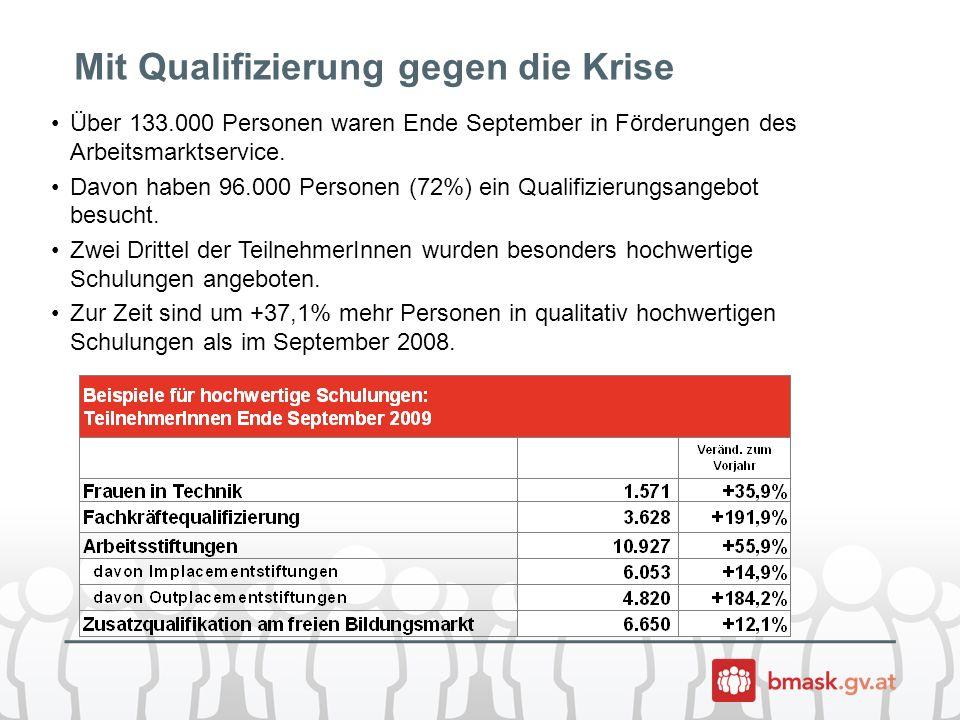 Mit Qualifizierung gegen die Krise Über 133.000 Personen waren Ende September in Förderungen des Arbeitsmarktservice.