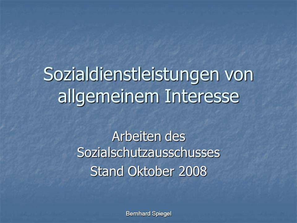Bernhard Spiegel Sozialdienstleistungen von allgemeinem Interesse Arbeiten des Sozialschutzausschusses Stand Oktober 2008